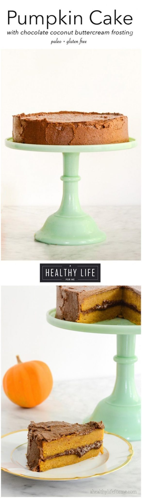 Pumpkin Maple Cake with Chocolate Coconut Buttercream Frosting Gluten Free | ahealthylifeforme.com