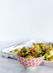 Paleo Roasted Brussel Sprouts and Bacon Recipe Gluten Free Thanksgiving | ahealthylifeforme.com