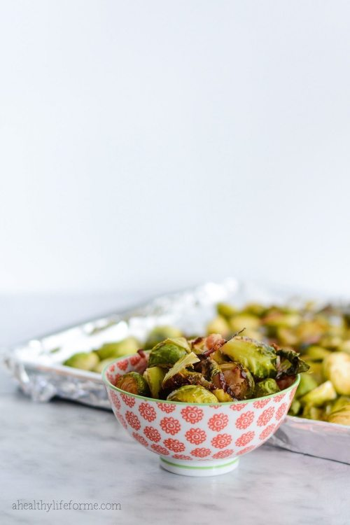 Paleo Roasted Brussel Sprouts and Bacon Recipe Gluten Free Thanksgiving   ahealthylifeforme.com