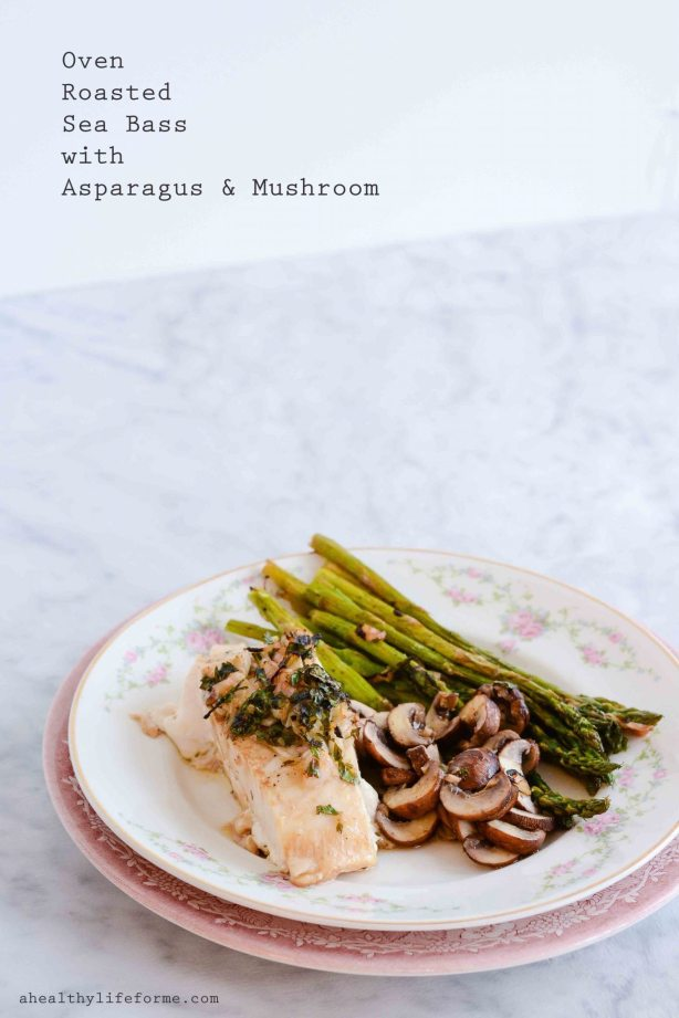Oven Roasted Sea Bass with Asparagus and Mushroom Recipe | ahealhtylifeforme.com