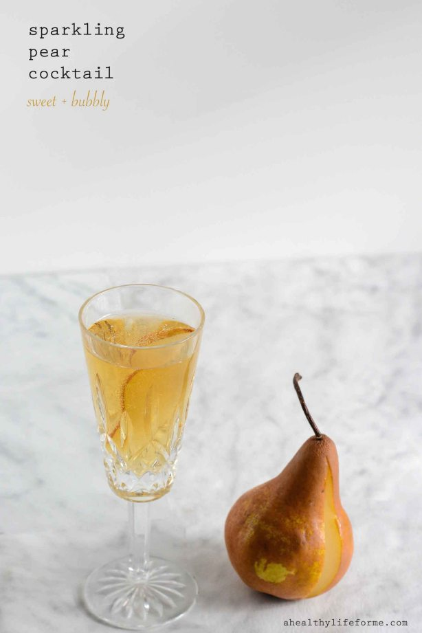 Sparkling Pear Cocktail has a little brandy, apple cider, champagne and fresh pear everything for a celebration in a glass-4