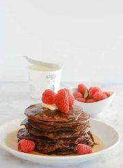 Gluten Free Chocolate Protein Pancake Recipe | ahealthylifeforme.com