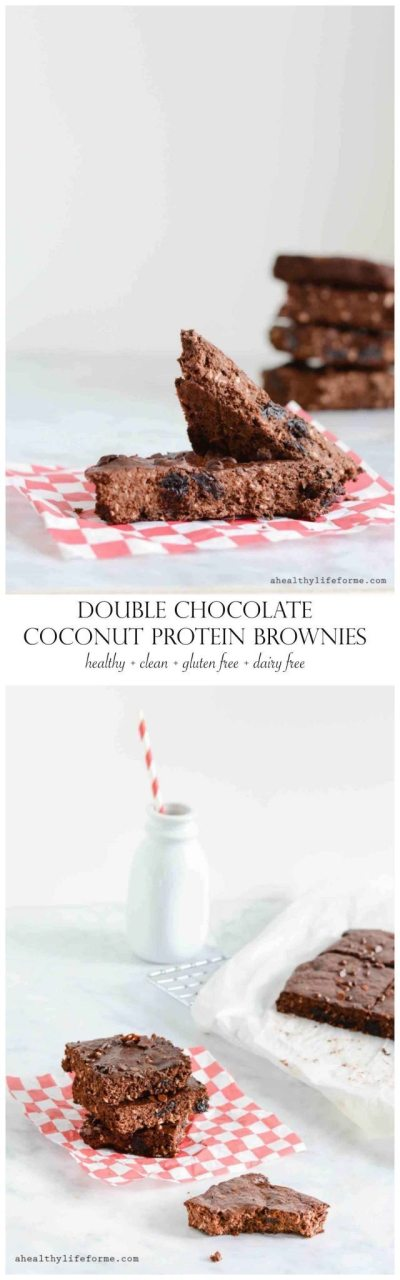 Double Chocolate Coconut Protein Brownies are Gluten Free Dairy Free Healthy Clean