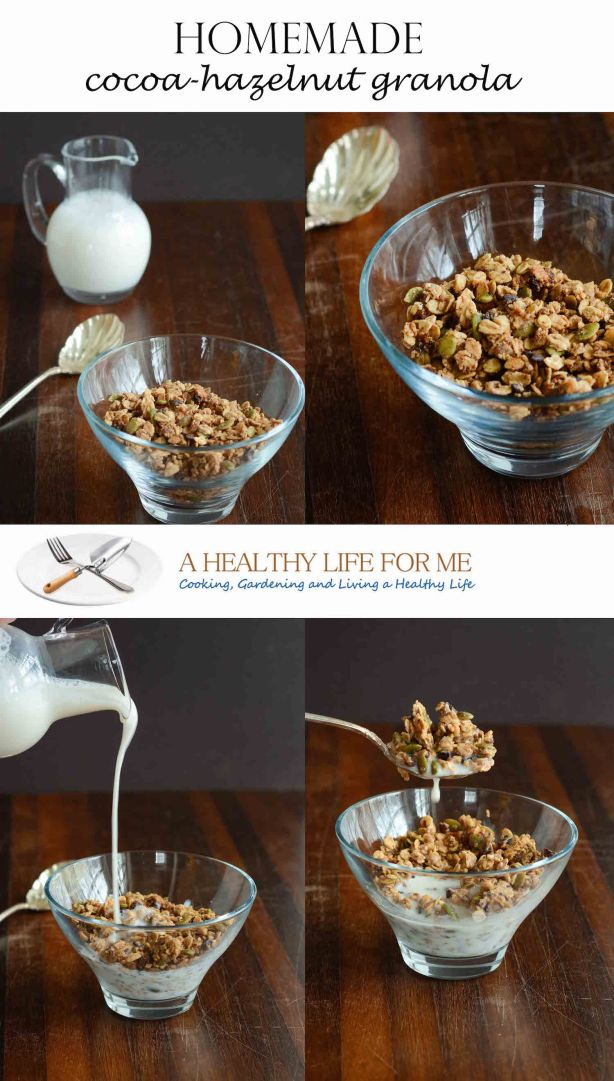 Homemade Gluten Free and Vegan Cocoa-Hazelnut Granola Recipe. A Healthy Way to Start the Morning.