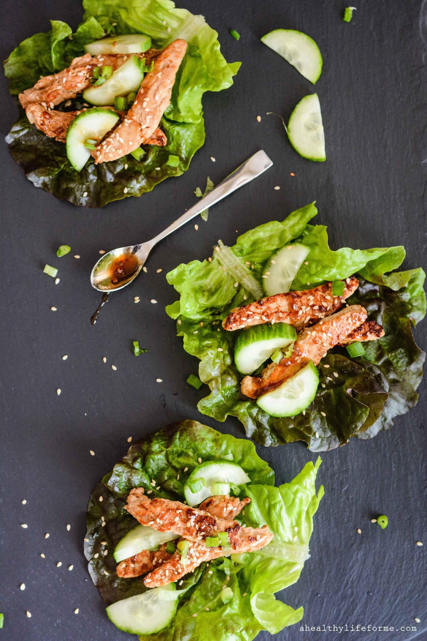 Teriyaki chickn strip lettuce wraps a healthy life for me teriyaki chickn strip lettuce wraps forumfinder Choice Image