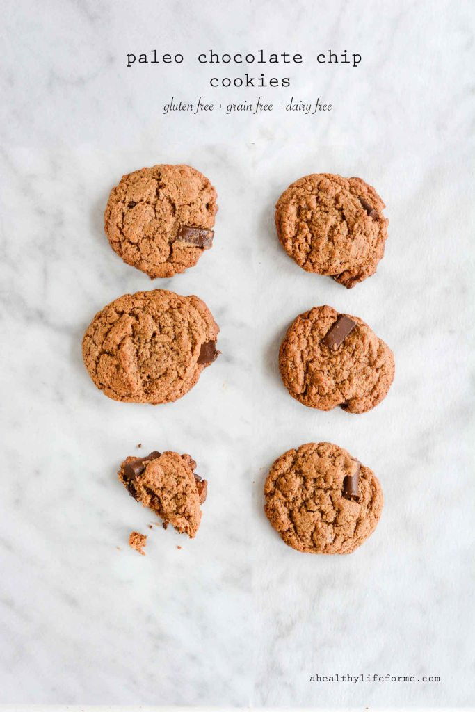 Paleo Chocolate Chip Cookies Recipe gluten free dairy free granulated sugar free easy and delicious | ahealthylifeforme.com