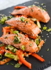 Paleo Salmon Teriyaki gluten free and dairy free healthy easy under 30 minutes | ahealhtylifeforme.com