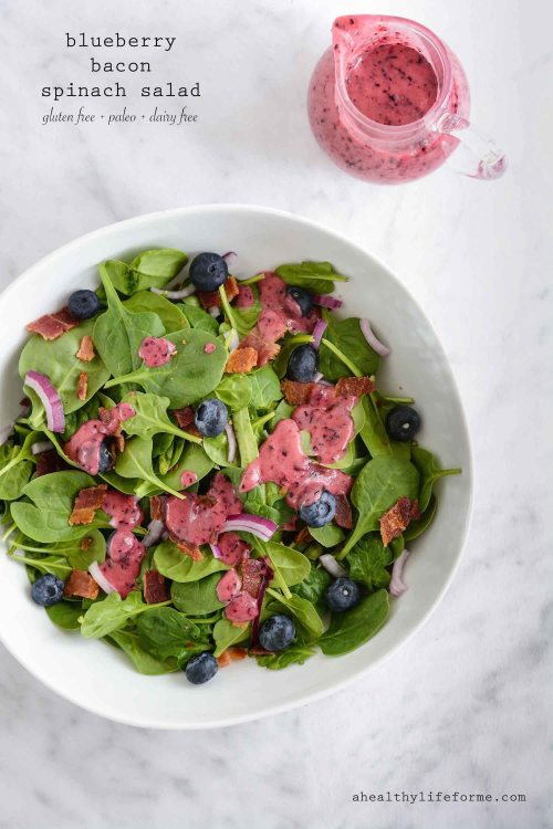 Blueberry Bacon Spinach Salad Recipe is paleo gluten free dairy free healthy and delicious   ahealthylifeforme.com