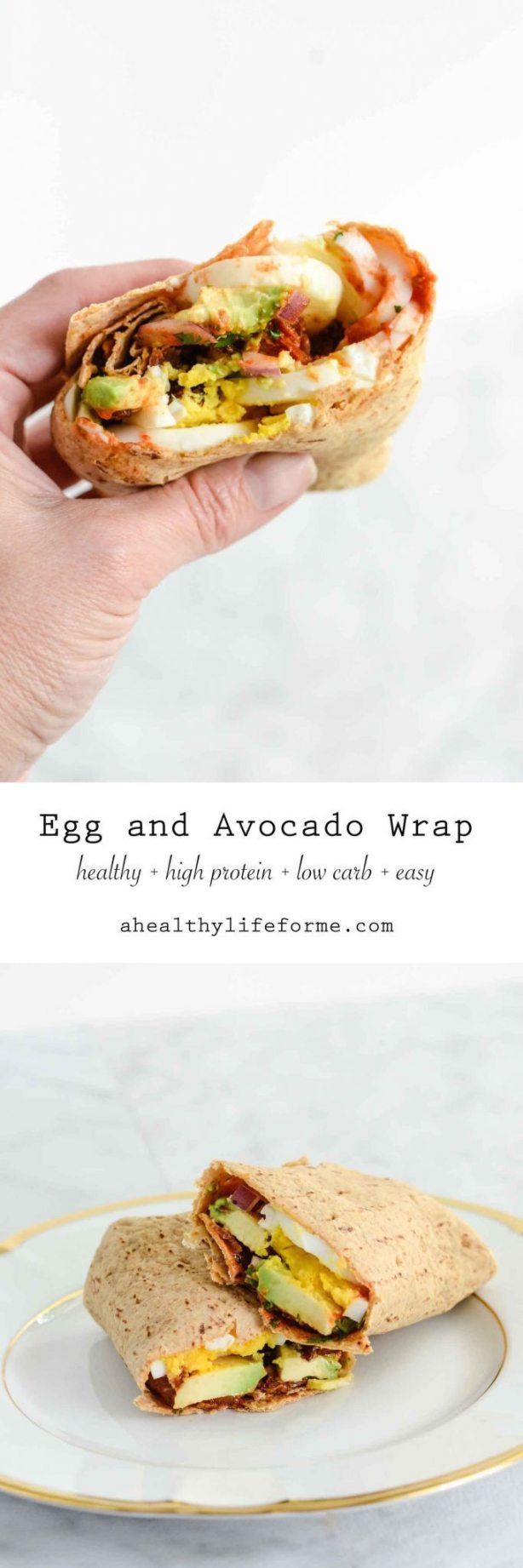 Egg and Avocado Wrap Low Carb High Protein Recipe | ahealthylifeforme.com