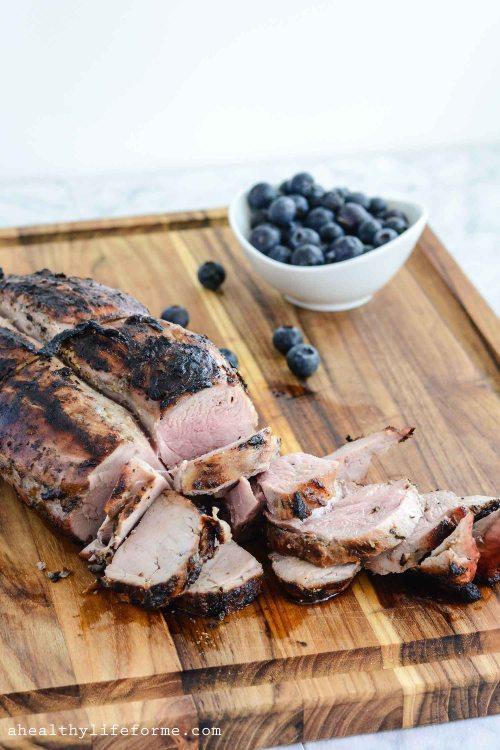 Blueberry Grilled Pork Tenderloin Healthy Gluten Free Paleo Dairy Free Dinner Recipe   ahealhtylifeforme.com