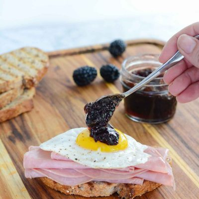 Ham Egg and Blackberry Open Face Sandwich