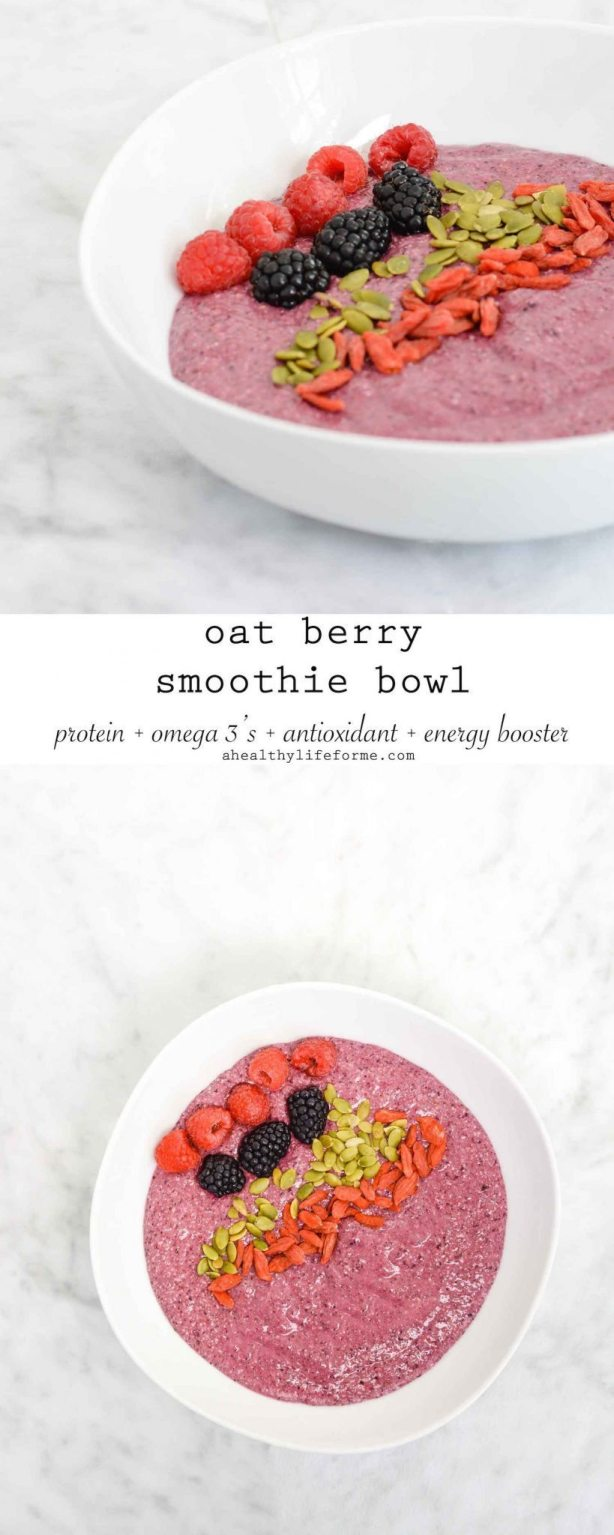 Oat Berry Smoothie Bowl is a wholesome filling and satisfying breakfast that is loaded with fresh berries, chia seeds, oats, pumpkin seeds | ahealthylifeforme.com