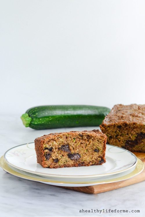 Gluten Free Zucchini Bread is loaded with shredded zucchini keeping it moist with a well needed sprinkle of chocolate throughout. The recipe is grain free, dairy free, paleo friendly   ahealthylifeforme.com
