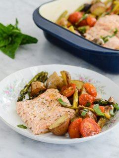 Roasted Salmon Potato Tomato and Asparagus