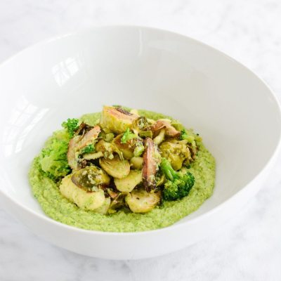 Roasted Vegetables with Broccoli Puree