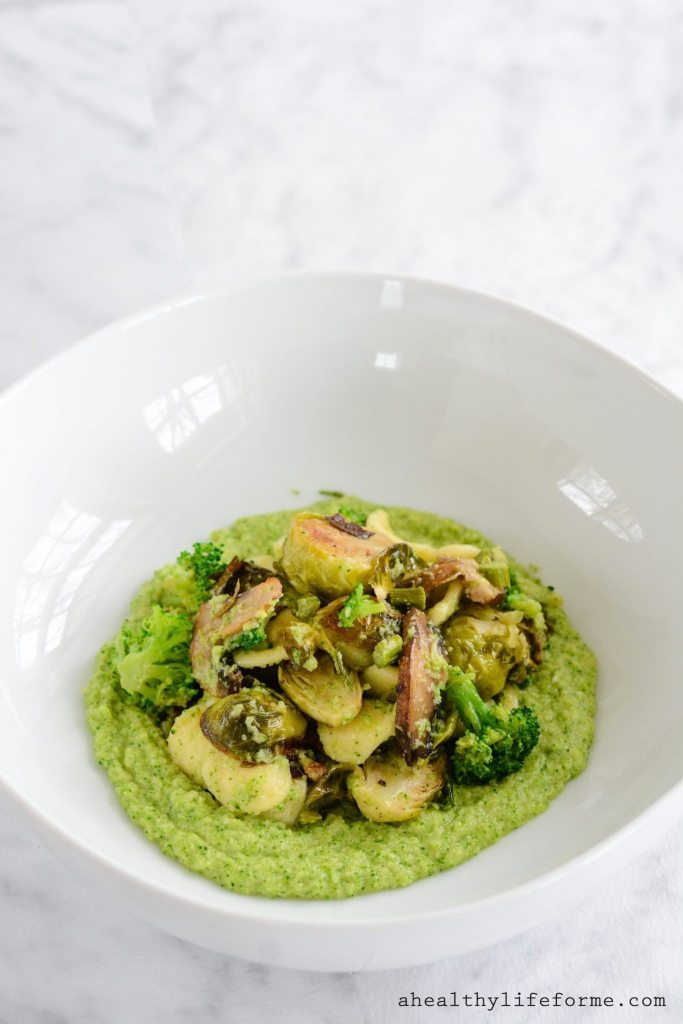 Roasted Vegetables with Broccoli Puree is a medly of roasted brussels sprouts, mushroom and asparagus that is blended with a creamy broccoli puree. Gluten Free, healthy, delicious and easy | ahealthylifeforme.com