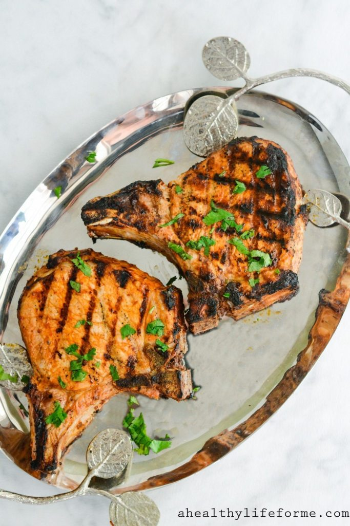 Chipotle Lime Marinated Grilled Pork Chops are simple, juicy, perfect pork chops with a bit of fresh flavored zing   ahealthylifeforme.com