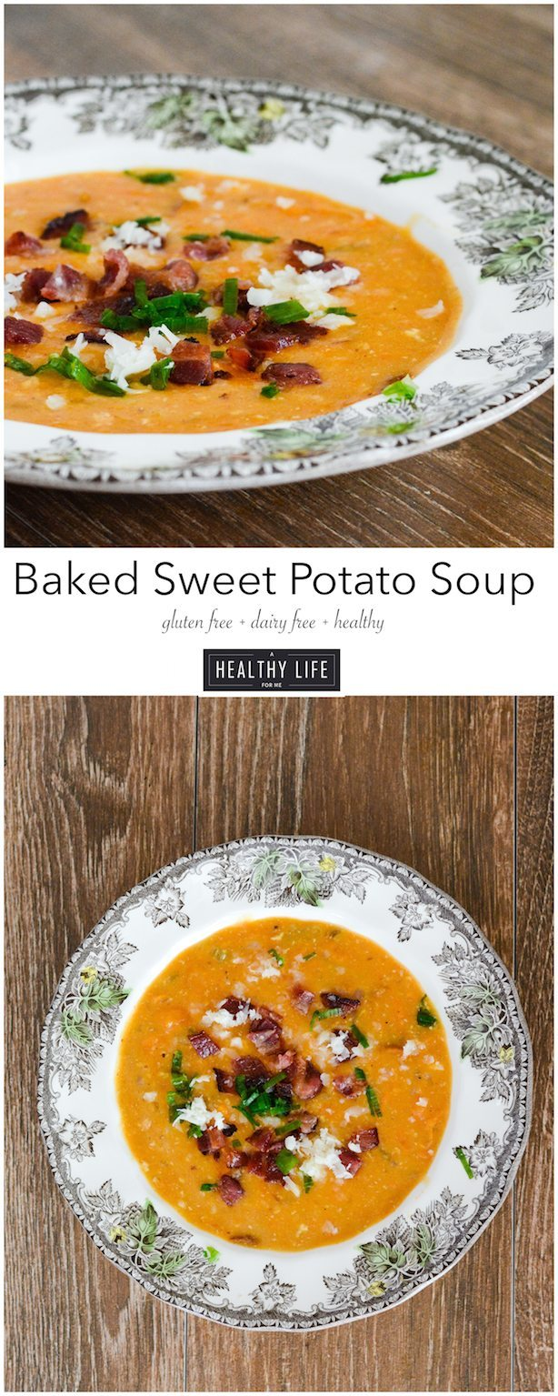 Baked Sweet Potato Soup is a creamy good for you easy to prepare soup | ahealthylifeforme.com