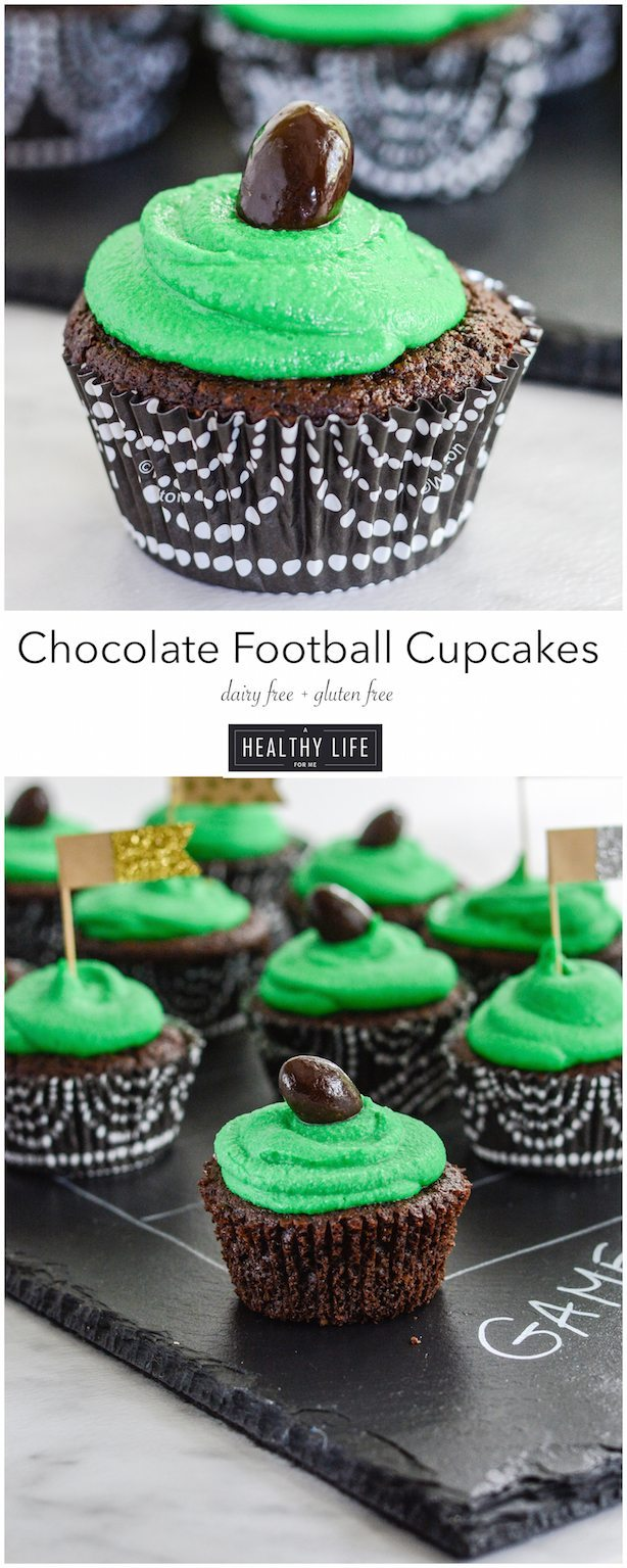 Chocolate Football Cupcakes are moist dense cakes gluten free dairy free recipe | ahealthylifeforme.com