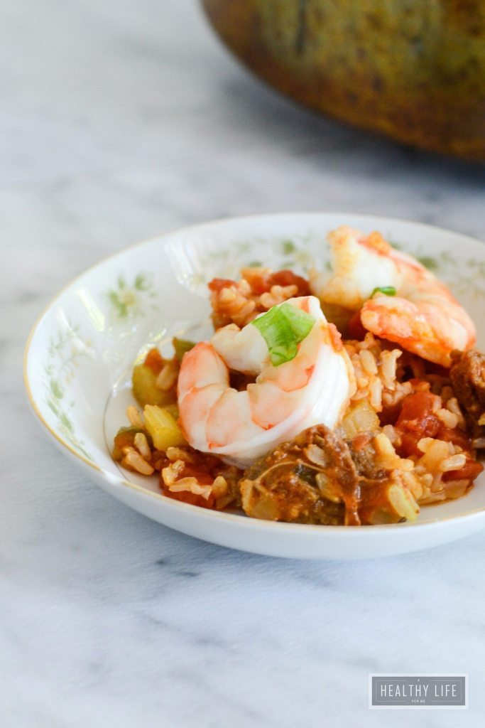 Shrimp Jambalaya is a fancy slightly spicy one pot dish that is simple to prepare and loaded with fresh flavors straight from New Orleans   ahealthylifeforme.com