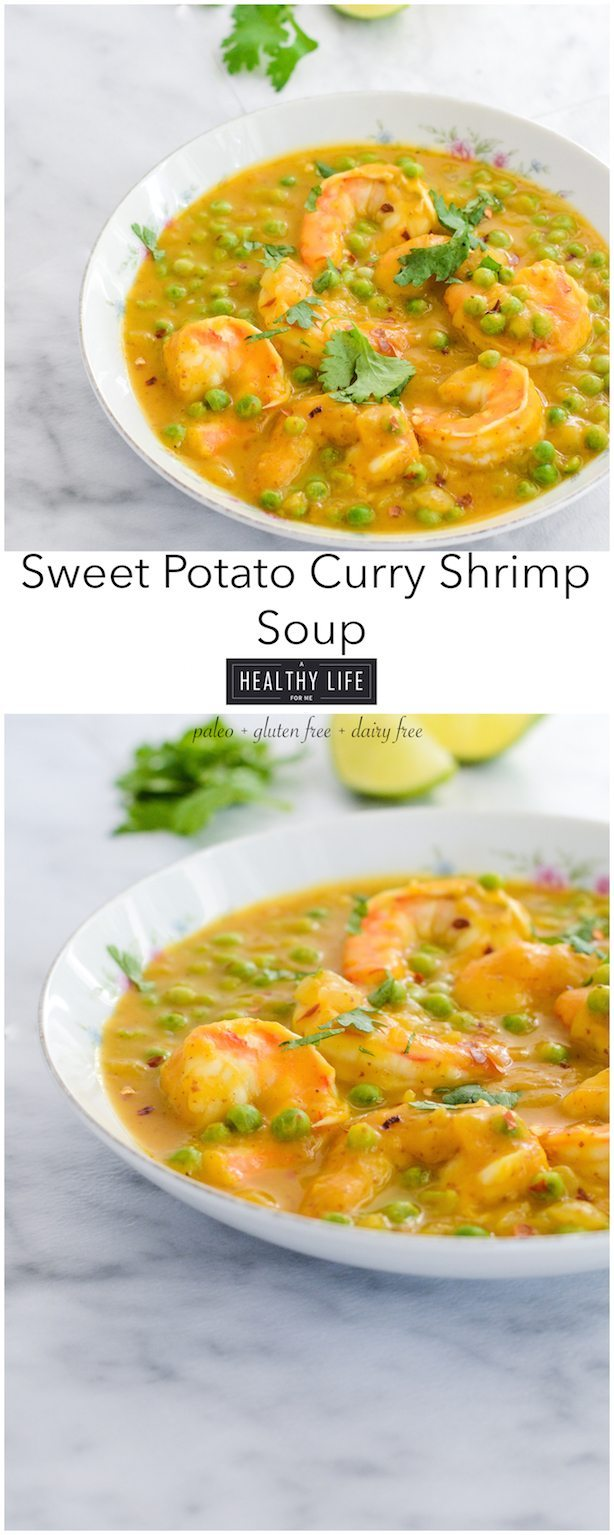 Sweet Potato Curry Shrimp Soup is a simple, healthy, thick soup that is loaded with a sweet creamy flavor. Paleo, Gluten Free and Dairy Free | ahealthylifeforme.com