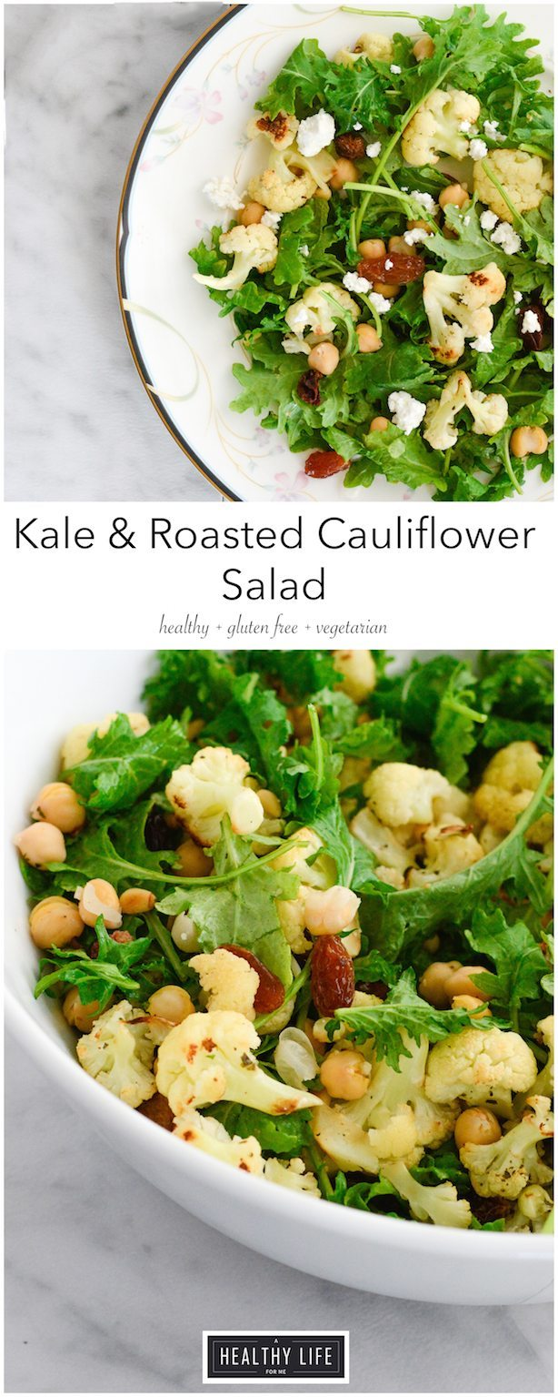 Kale and Roasted Cauliflower with raisins, chickpeas, feta and lemon vinaigrette recipe | ahealthylifeforme.com