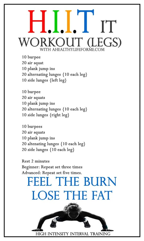 HIIT Workout Leg Blaster | ahealthylifeforme.com