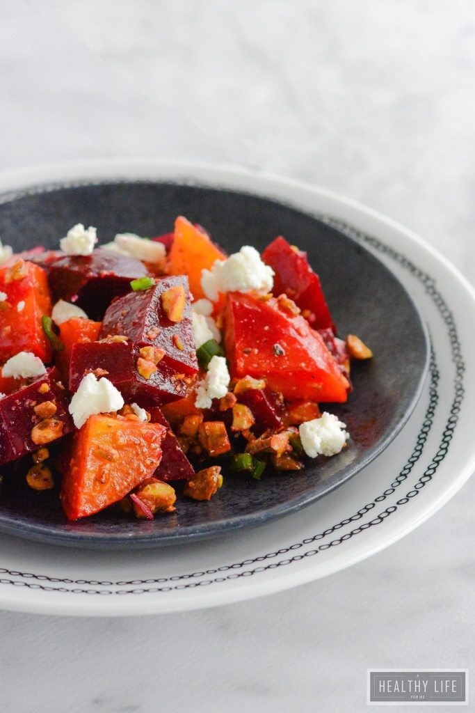 Roasted Beets Pistachio and Goat Cheese Salad is a delicious winter salad that is healthy and delicious   ahealthylifeforme.com