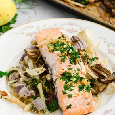 Roasted Salmon Fennel and Bok Choy {gluten free + paleo}