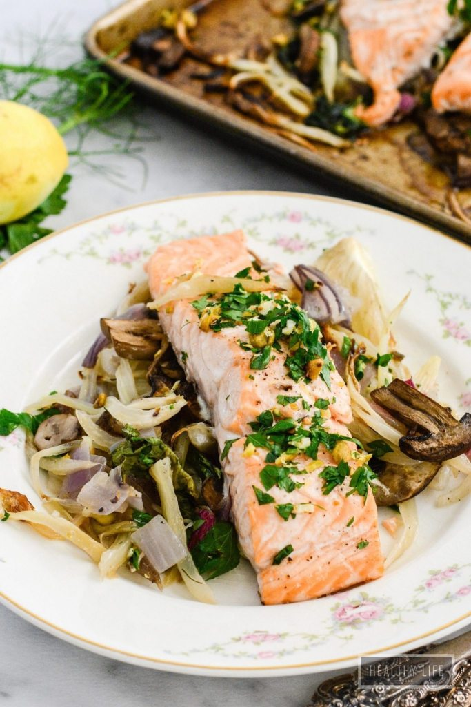 Roasted Salmon Fennel Bok Choy is a healhty gluten free dairy free paleo recipe that is ready in under 30 minutes   ahealthylifeforme.com