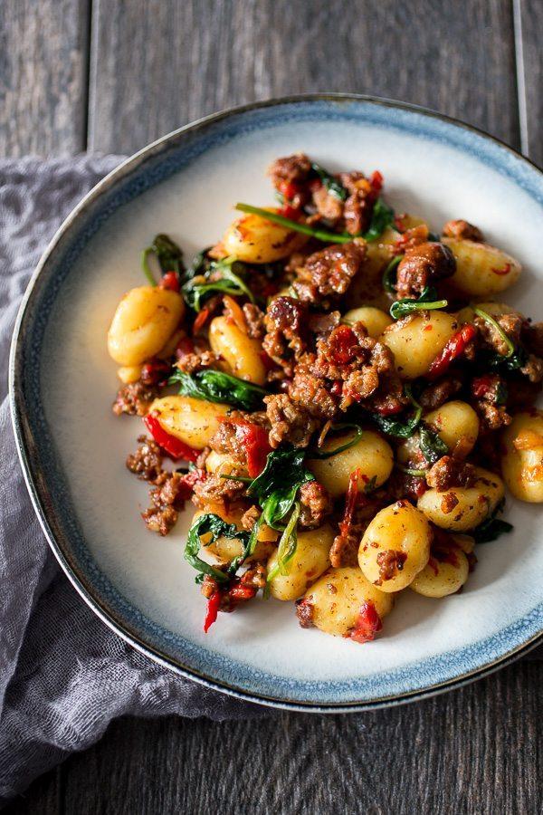 Chorizo Red Pepper Gnocchi Recipe | nutmegnanny.com