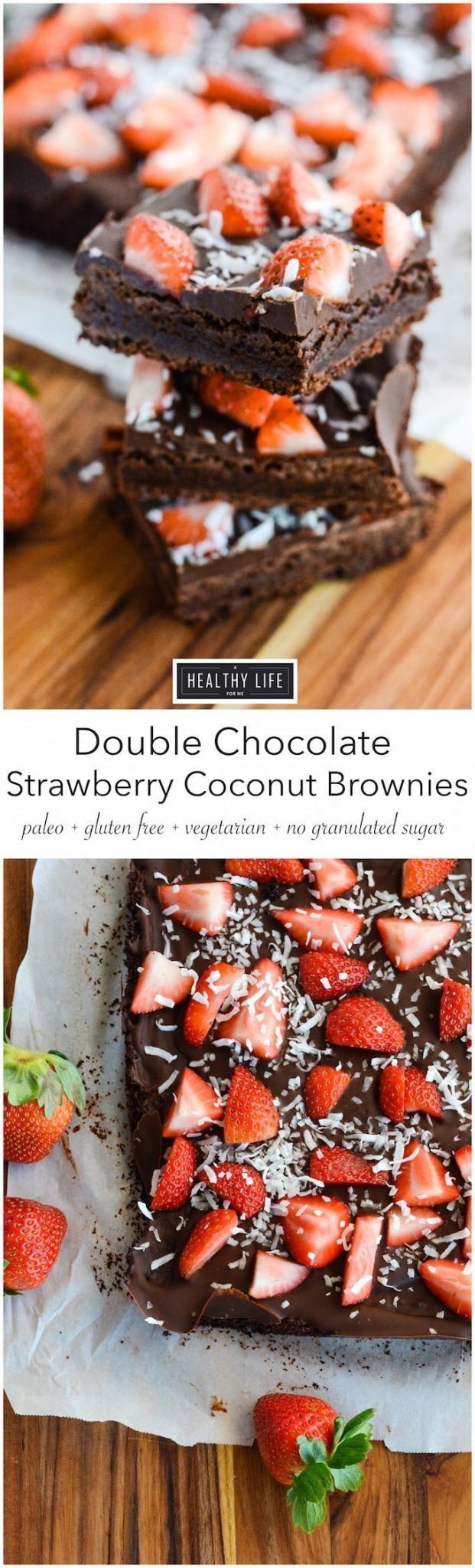 Paleo Double Chocolate Strawberry Coconut Brownie Recipe | ahealthylifeforme.com