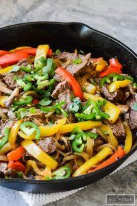 Paleo Skillet Beef Fajitas cooked in one pan in under 30 minutes gluten free recipe | ahealthylifeforme.com