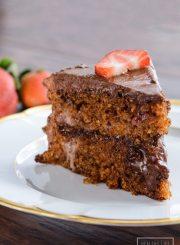 Strawberry Cake with Chocolate Frosting gluten free paleo recipe | ahealthylifeforme.com