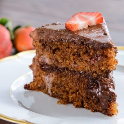 Strawberry Cake with Chocolate Frosting {gluten free + paleo}
