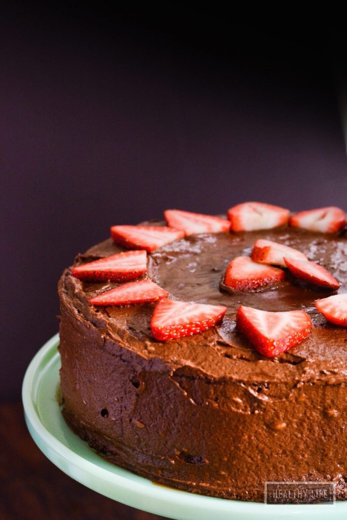 Strawberry Cake with Chocolate Frosting gluten free paleo recipe | ahealthylifeforme.com