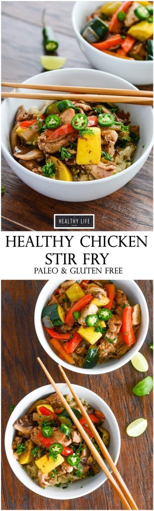 Healthy Paleo Chicken Stir Fry Recipe in your home kitchen in 30 minutes filled with pieces of organic chicken and loads of freshly diced vegetables.   ahealthylifeforme.com