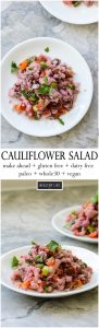 This Italian Cauliflower Salad is a colorful fresh vegetable bonanza. There are so many layers of flavor that marinade together to showcase summers bounty of vegetables. Gluten free, Dairy free, paleo and whole 30 friendly and vegan | ahealthylifeforme.com