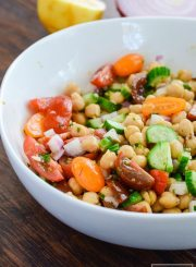 This Lemony Chickpea Salad features bright colors and equally bright flavors. A hearty recipe that is quick to assemble and loaded with healthy ingredients. This is a diary free recipe making it a perfect choice to bring to your next barbecue gluten free recipe | ahealthylifeforme.com