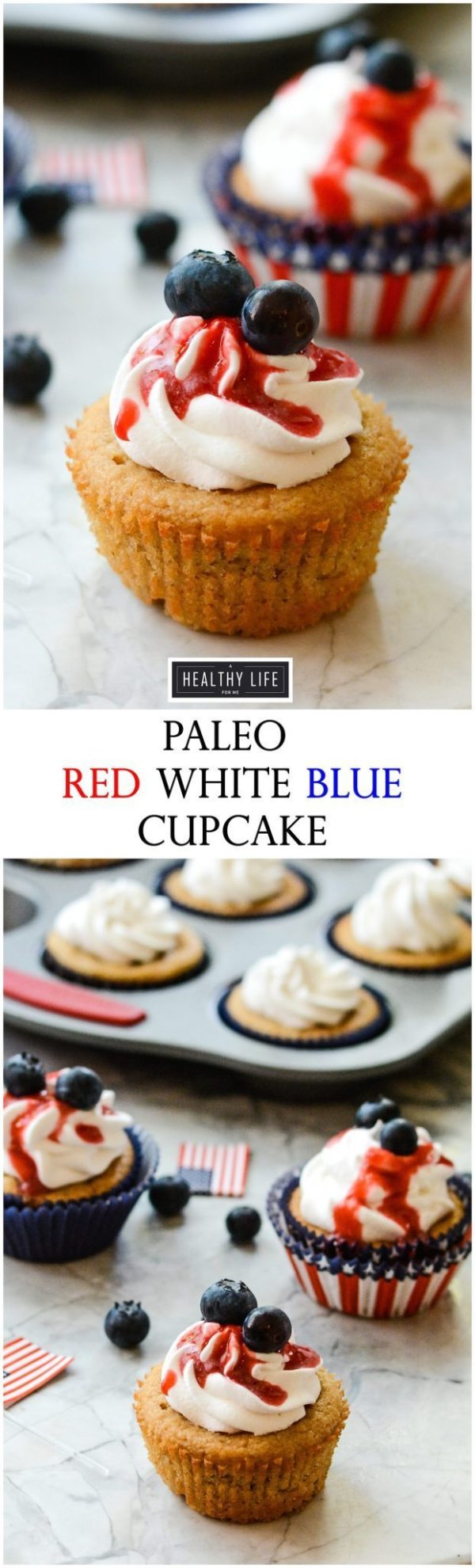 Paleo Red White Blue Cupcake are the prettiest little cupcakes to celebrate the summer holidays | ahealthylifeforme.com