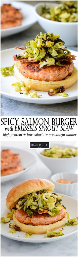 Spicy Salmon Burger Recipe with Roasted Brussels Sprout Slaw   ahealthylifeforme.com