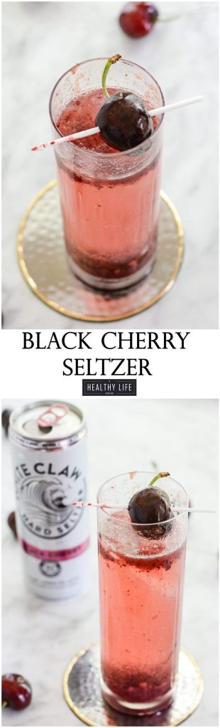 Black Cherry Seltzer a bit of fresh cherries, bubbles and vodka make for a refreshing cocktail | ahealthylifeforme.com