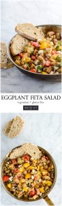 Eggplant Feta Salad is the perfect combination of sautéed garden fresh eggplant, tomatoes, fresh basil and balsamic olive oil dressing | ahealthylifeforme.com