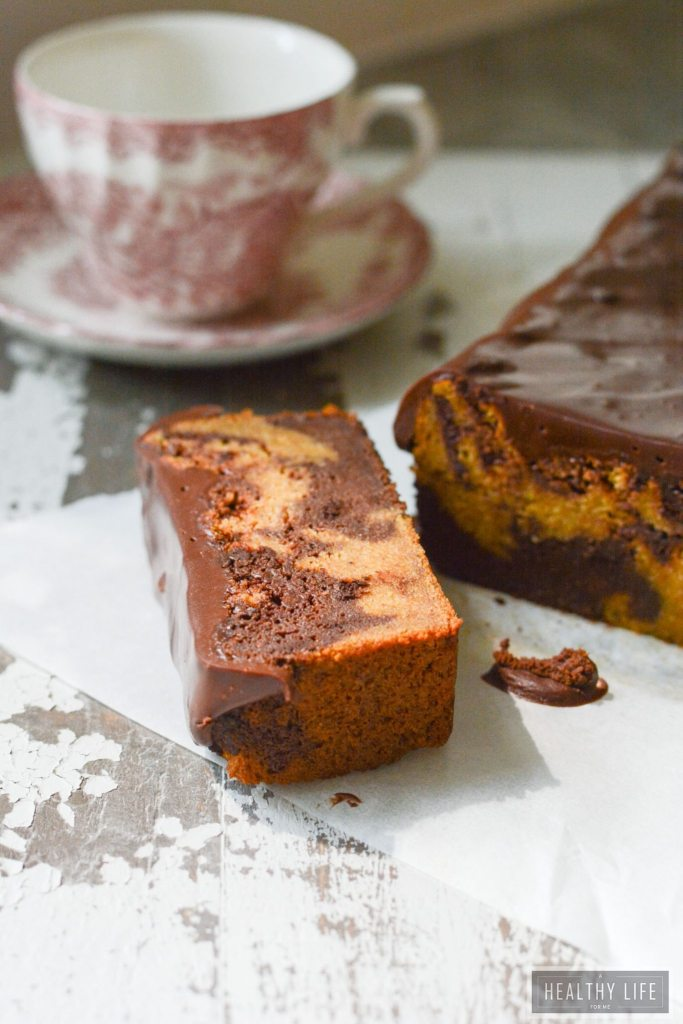 Paleo Pumpkin Banana Chocolate Swirl Cake is gluten free lightened up recipe | ahealthylifeforme.com