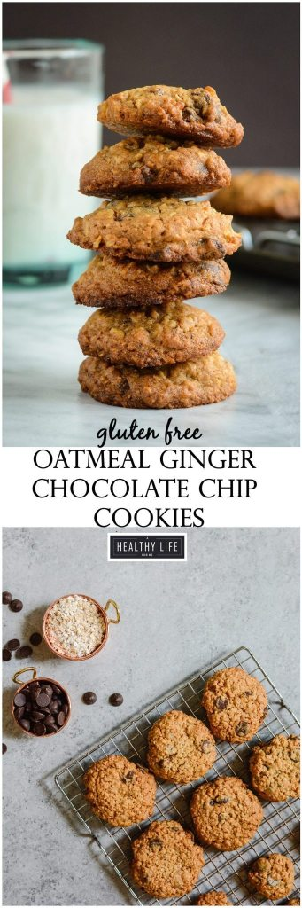 Gluten Free Oatmeal Ginger Chocolate Chip Cookie Recipe | ahealthylifeforme.com