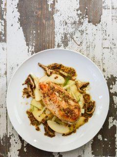Pan Roasted Chicken with Apple Fennel Slaw {gluten free + paleo}