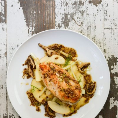 Pan Roasted Chicken with Apple Fennel Slaw {gluten free + paleo}