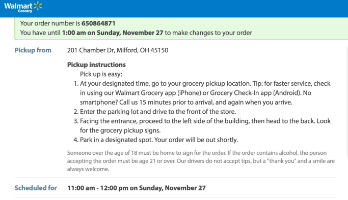 Ordering Groceries on-line with Walmart