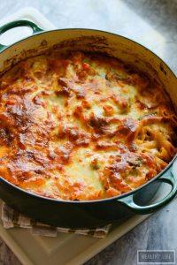 One Pot Broccoli Cauliflower Pasta Bake Recipe Gluten Free Vegetarian   ahealthylifeforme.com