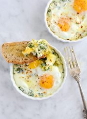 Baked Egg Ricotta Thyme Cups for a healthy easy breakfast recipe | ahealthylifeforme.com